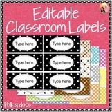 Editable Classroom Labels - Polka Dots