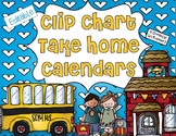 Editable Clip Chart Take Home Calendars for 2014-2015