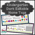 Editable Dark Chevron Kindergarten Desk Name Tags