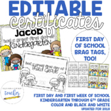 Editable First Day of School Certificate {2015}