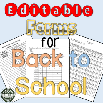 Editable Forms for Back to School