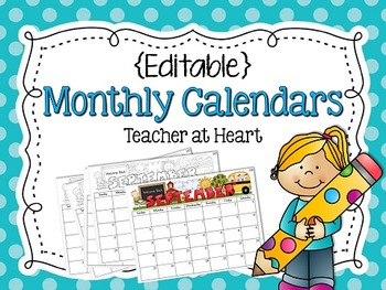 {Editable} Monthly Calendars 2015-2016