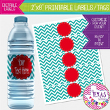 Water Bottle Lables - Turquoise Chevron and Red - Dr. Seus
