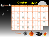 Editable October 2014 SmartBoard Calendar