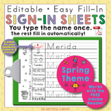 Editable Print-Practice Weekly Sign In Sheets - Spring Theme