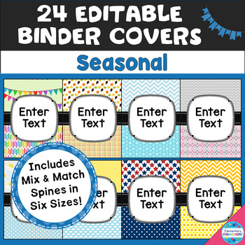 Editable Seasonal Binder Covers and Side Labels