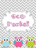 Editable Substitute Packet (Chevron with Polka Dot Owl Decor)