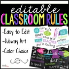 Editable Subway Art Classroom Rules