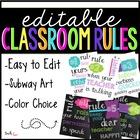 Editable Subway Art Classroom Rules