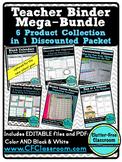 Editable TEACHER Organization BINDER 6 PRODUCT BUNDLE {Tem
