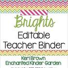 Editable Teacher Binder - Brights
