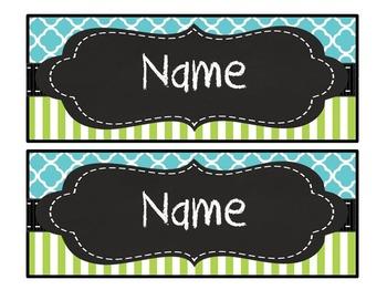 Editable aqua quatrefoil lime stripe chalkboard nameplates