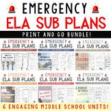 Emergency Language Arts Sub Plans BUNDLE for Grades 4-8