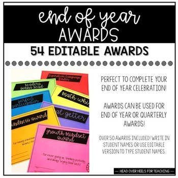 End Of Year Awards {52 Editable Student Certificates}