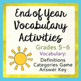 End of Year Vocabulary Activities Grades 5-6