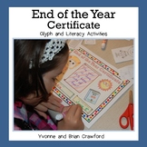 End of the Year Literacy Activities and Certificate Glyph