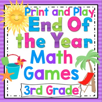 End of the Year Math Games and Centers: 3rd Grade Print and Play, No Prep