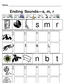 Ending Sound Picture Match and Letter Write