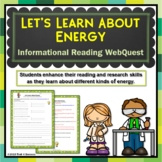 Energy Webquest Scavenger Hunt Activity Informational Text