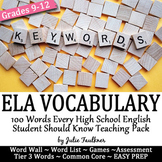 Vocabulary for English Class, 100 Terms, Word Wall, Quiz,