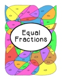 Equal Fractions Coloring Page Activity Math PDF Printable