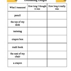 Estimating Length Worksheet