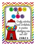 Even and Odd Gum ball Craftivities and practice 2.OA.C.3