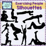 Exercising people silhouette clipart