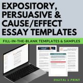 Expository, Persuasive, and Cause and Effect Essay Templates