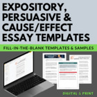 Expository, Persuasive, Cause/Effect Fill-in-the-Blank Ess