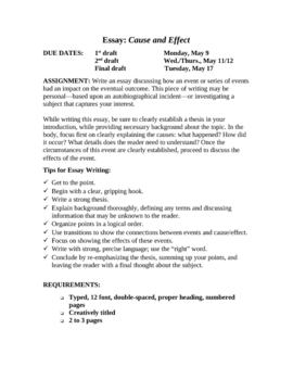 DEV 110 Notes -- Causal Analysis (Cause and Effect) Essays