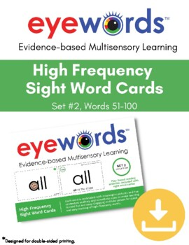 Eyewords Multisensory Sight Words 51-100 Flashcards/Wordwall Cards