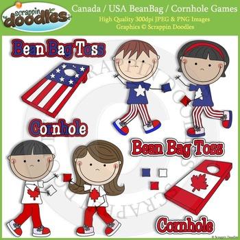 FREE Canada & USA Cornhole / Bean Bag Toss Games Clip Art