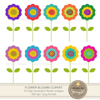 FREE: Colorful Flower Cliparts