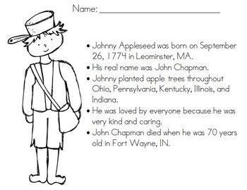 FREE Coloring Page for Johnny Appleseed
