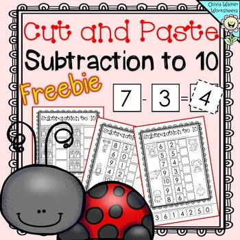 FREE - Cut and Paste Subtraction to 10