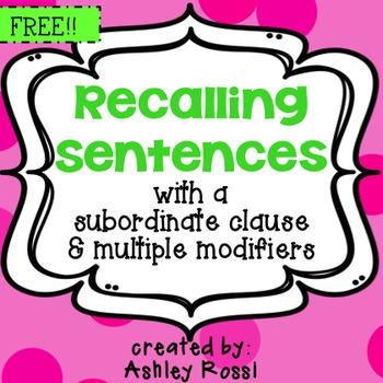 FREE! Expressive & Receptive Language - Recalling Sentences - Subordinate Clause