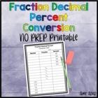 FREE Fraction Decimal Percent Conversion Common Core 4.NF.6