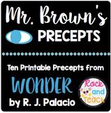 FREE!! Mr. Brown's Precepts from Wonder by R. J. Palacio