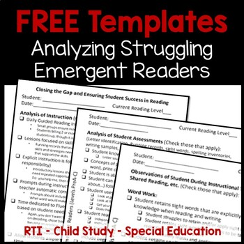 FREE Resources to Help Struggling Readers at the Emergent Reader Levels