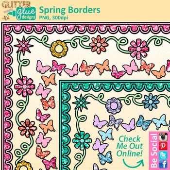 FREE Spring Paper Borders / Frames Clip Art - Glitter Meets Glue Designs