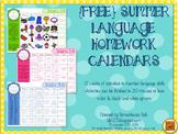 {FREE} Summer Speech Homework Calendars for Language