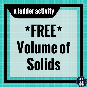 FREE Volume of Solids Chain Activity