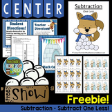 FREE Winter Subtraction One Less Concept Center & Interact