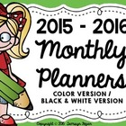 ***FREEBIE*** 2015 - 2016 Monthly Planner