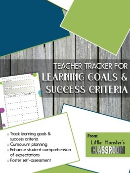 Graphic Organizer - Learning Goals & Success Criteria