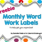 *FREEBIE* Monthly Word Work Labels