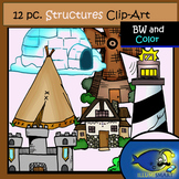FREEBIE Structures Clip-Art Set-6 b&w, 6 Color