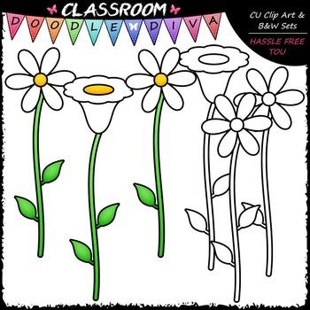 FREEBIE White Flowers 1 - CU Clip Art and Black & White Set {HASSLE FREE TOU}