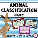 FRENCH Animal Classification Science Posters Bulletin Grad
